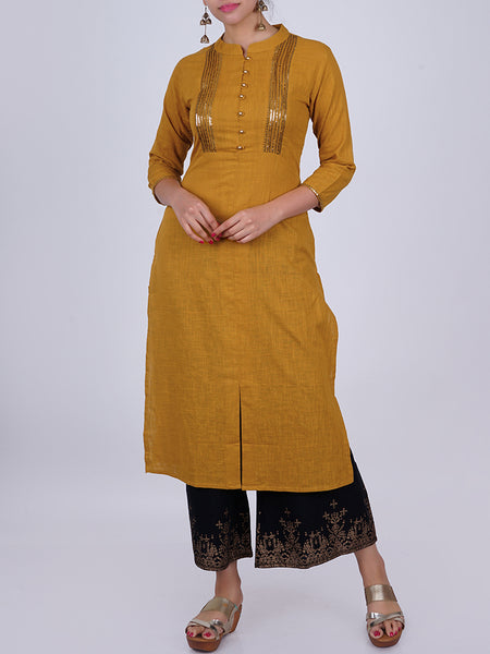 Sequins Work Pin-Tucked Slub-Cotton Kurti