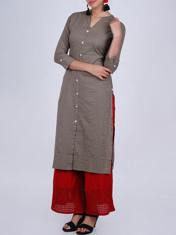Mother-pearl Buttoned & Woven Striped Cotton Jacquard Kurti - Olive Brown