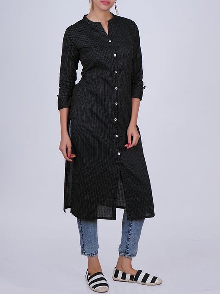 Mother-pearl Buttoned & Woven Striped Cotton Jacquard Kurti - Black