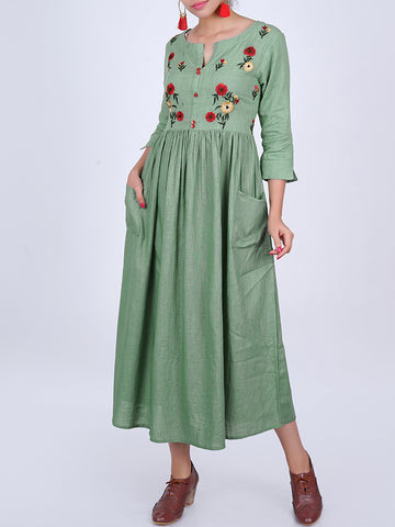 Floral Resham Work Gathered Slub-Cotton Kurti