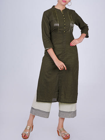 Sequins Work Pin-Tucked Slub-Cotton Kurti - Dark Green