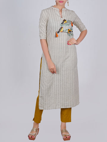 Resham, Sequins, Wooden Beads & Tassels Work Bird Buta With Chequered Kurti