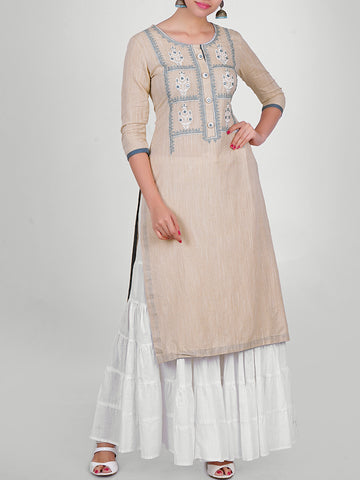 Resham & Foil Mirror Work Two-Toned Cotton Handloom Kurti