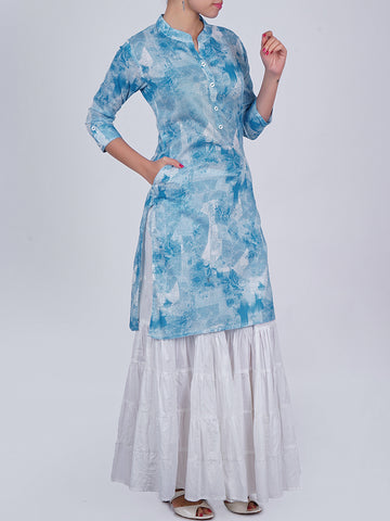 Textured Abstract Rose Print Buttoned Cotton Kurti - Sky Blue