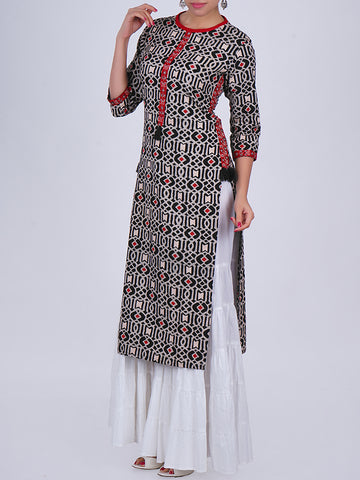 Zari & Resham Work With Tasseled Abstract Print Slub-Cotton Kurti