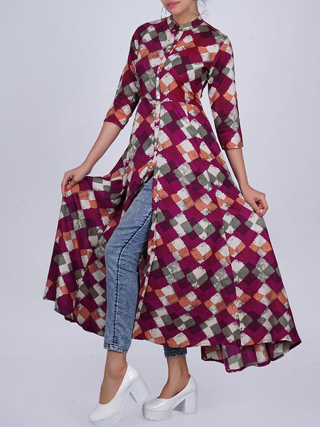 Mother-pearl BUttoned Printed Cotton Anarkali Kurti