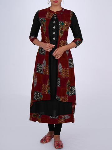 Oxidised Tree Brooch Embellished Printed Double Layered Kurti - Black & Maroon