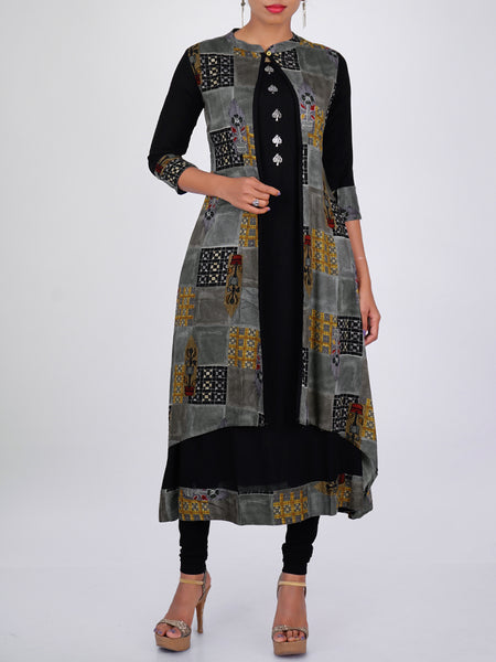 Oxidised Tree Brooch Embellished Printed Double Layered Kurti - Black & Grey
