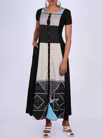 Abstract & Geometric Print Flared Kurti