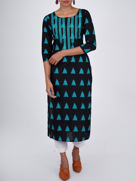 Resham Leaf Baile Work Triangle Print Navy Blue Kurti