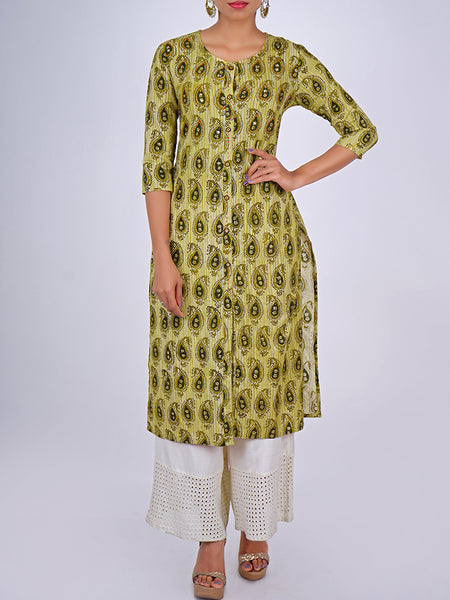 Resham Running Stitch & Sequins Work Paisley Print Cotton Kurti