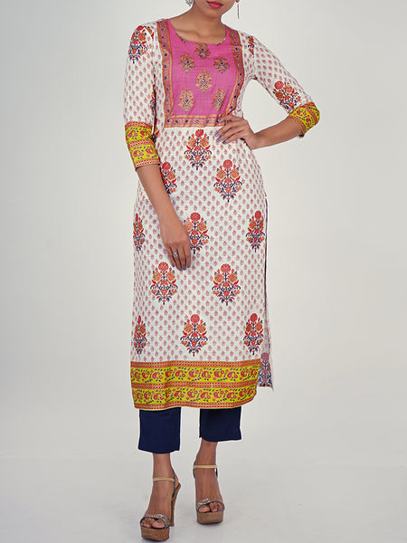 Foil Mirror Work Foil Printed Cotton Kurti