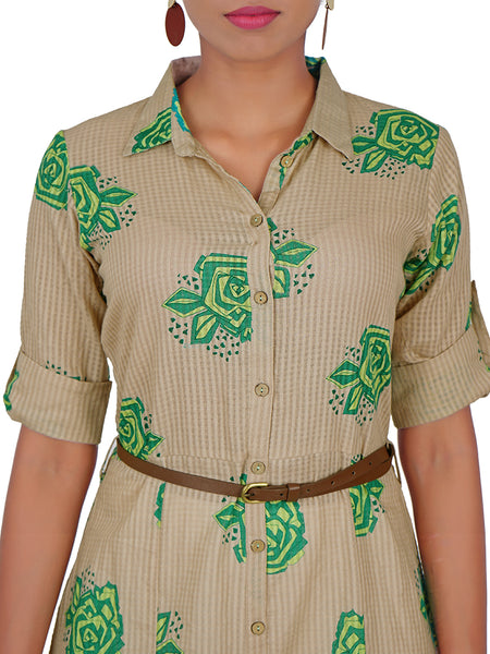 Faux Leather Belt With Rose BUta Printed Cotton Jacquard Kurti