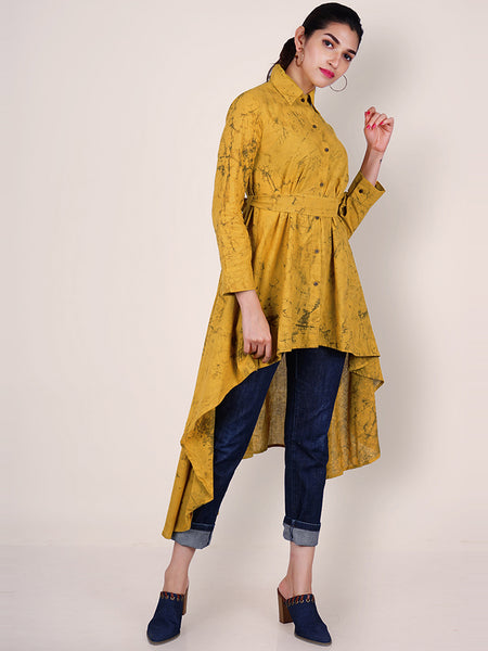 Tie-Up Belted Tie-dye Printed Asymmetric Hem Cotton Kurti