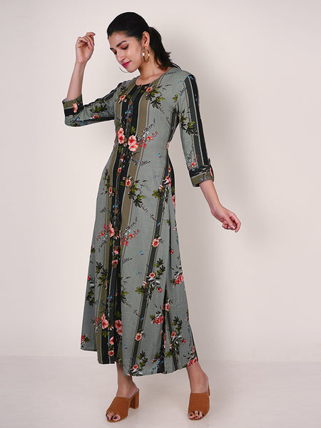 Metal Rimmed Wooden Buttoned floral Kurti