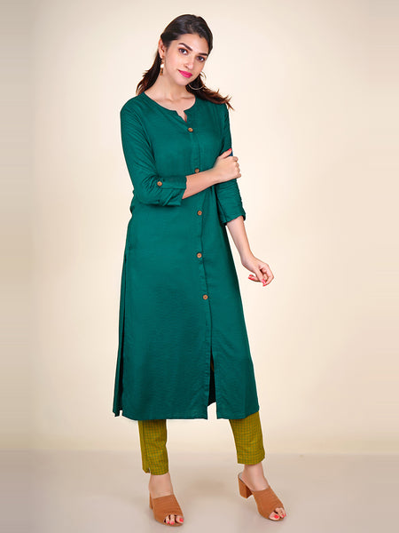 Jacquard Woven Buti Work Cotton Kurti