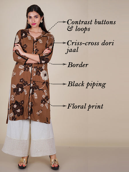Dori Criss-Cross Jaal Sleeves With Floral Print Kurti