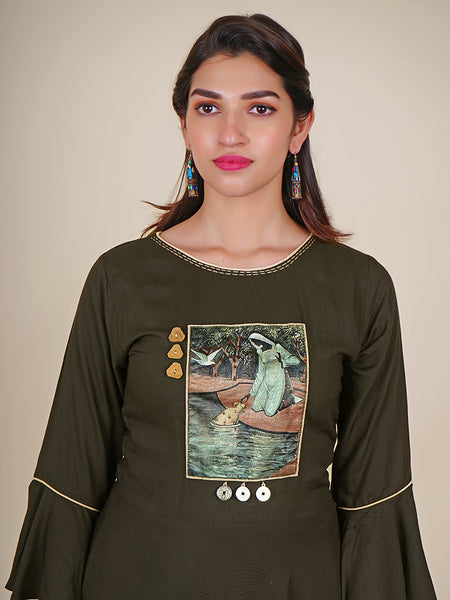 Crystal, Chinese Coin & Coconut Shell Buttoned Printed Applique Work Cotton Kurti