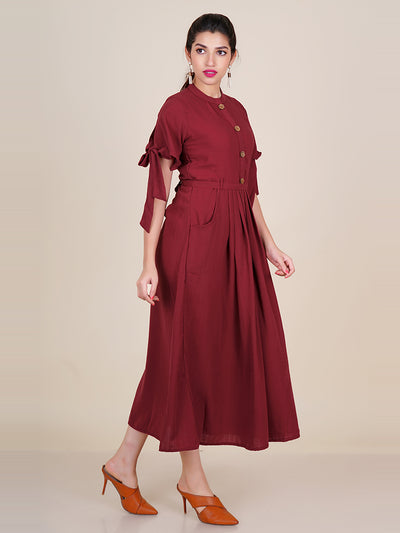 Tie-Up Belt With Tie-up Sleeves Pleated Kurti – Rust Maroon