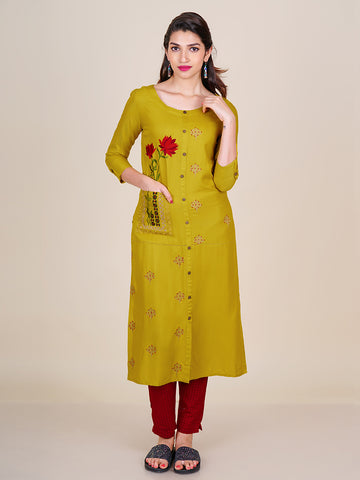Resham Work Lotus Buta & Floral Bouquet Work Kurti