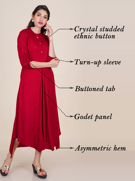 Crystal Studded Ethnnic Buttoned Godet Panelled Kurti – Maroon
