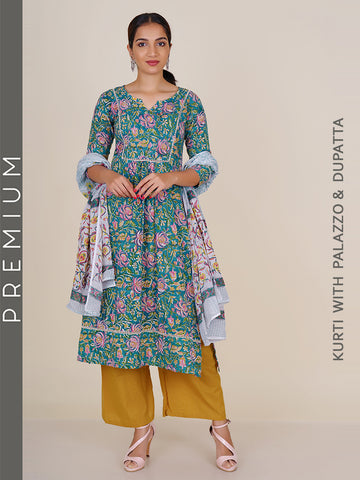 Floral Printed Pintucked Cotton Kurti with Floral Dupatta & Jacquard Striped Palazzo Set