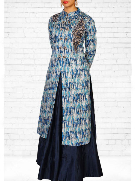 Abstract Printed Cotton Satin Kurti with Skirt