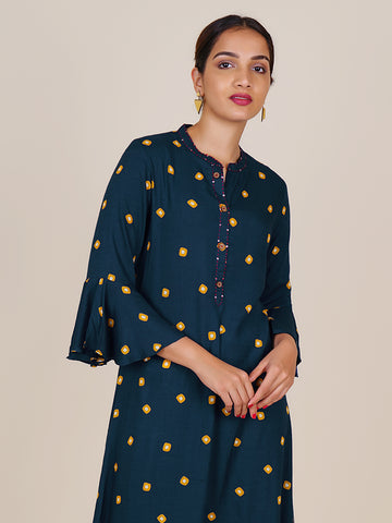 Resham & Sequins Work Floral Cutwork Wooden Buttoned Kurti