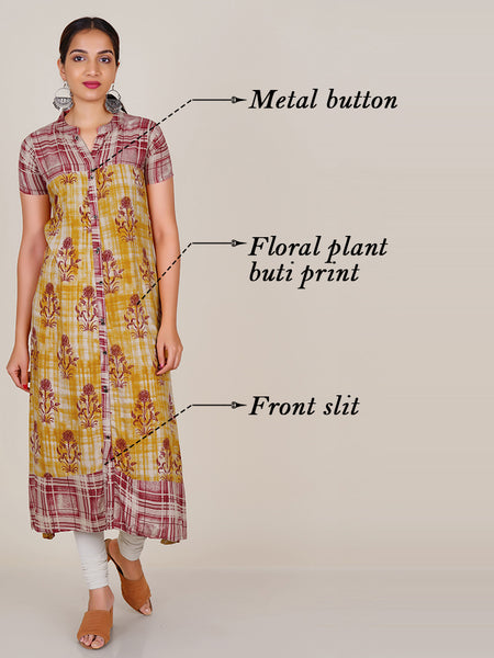 Metal Buttoned Floral Plant Buti Print Panelled Kurti