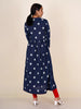 Jacquard Striped Wooden Buttoned Gathered Cotton Kurti - Indigo Blue