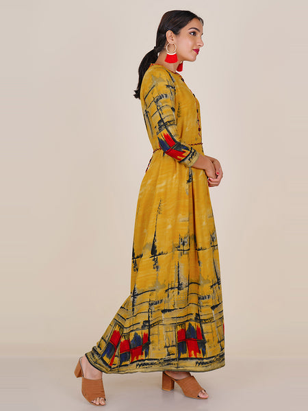 Braided Dori Belt With Mother-Pearl Sequins & Resham Work Pleated Kurti