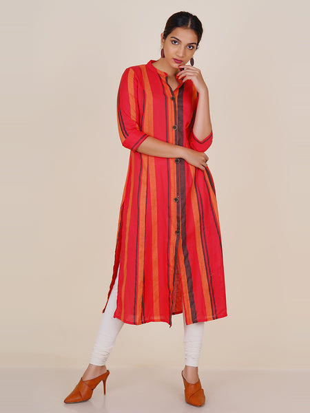 Metal Rimmed Wooden Buttoned Striped Cotton Kurti - Red