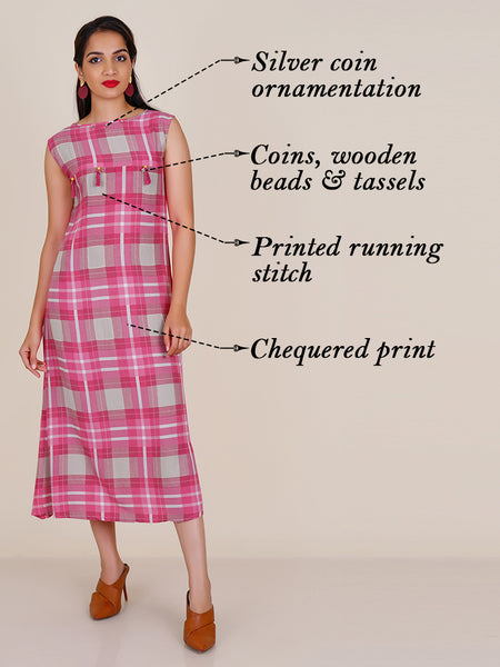 Resham Running Stitch, Coin & Tassel Work Chequered Cotton Kurti