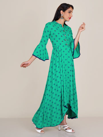 Sequins, Cut-dana, Beads & Resham Work Asymmetric Hem Kurti