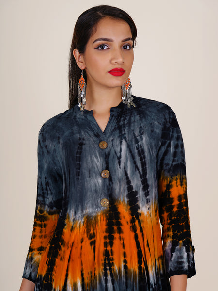 Brass Engraved Wooden Buttoned Shibori Printed Kurti - Orange Peel