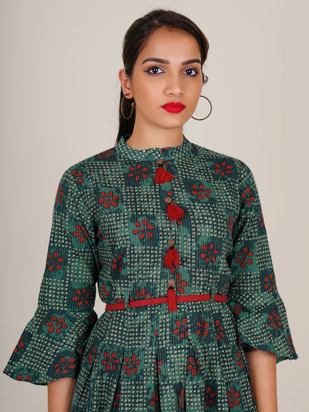 Braided Belt With Tasseled Frill Sleeves Pleated Cotton Kurti