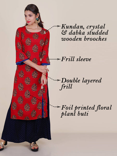 Kundan, Crystal & Dabka Work Wooden Brooch Foil Print Kurti - Red