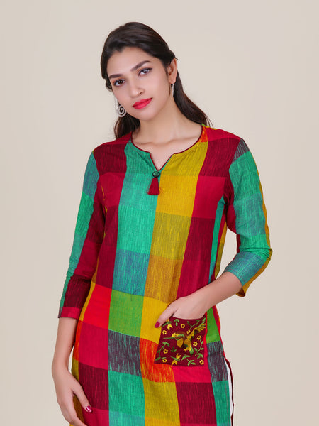 Resham Bird Buta Work Patch Pocket Chequered Cotton Kurti