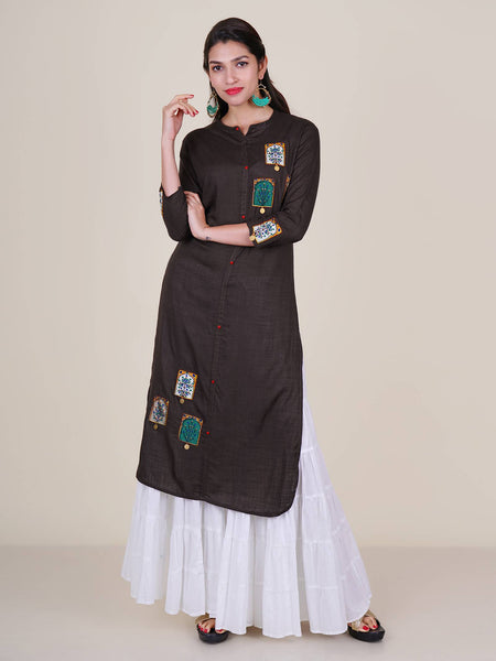 Resham & Coin Ornamented Floral Applique Work Kurti – Stone Grey