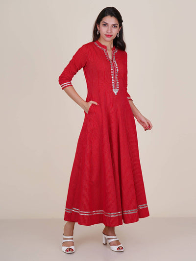 Zari, Foil Mirror & Gota Lace Work Woven Striped Cotton Anarkali Kurti