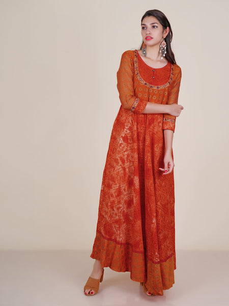Resham, Foil Mirror Work Oxidised Crystal Buttoned Khadi Print Kurti - Orange