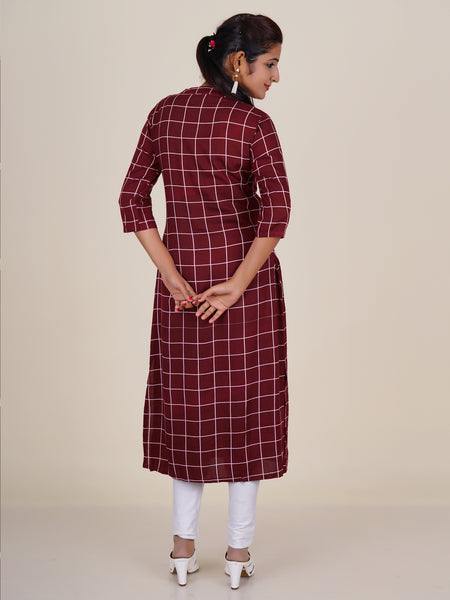 Golden Buttons Embellished Chequered Kurti
