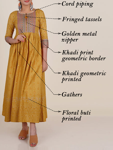 Foil Mirror & Resham Work Golden Zipper Detail Cotton Kurti