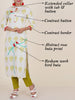 Resham Bird Buta Work Rose Print Cotton Handloom Kurti