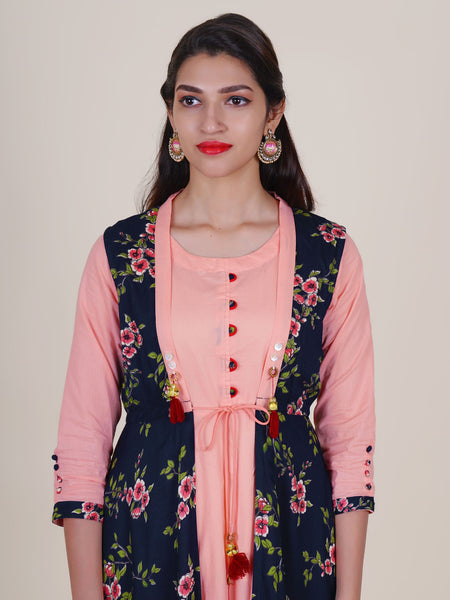 Mother-pearl Button, Brooch & tasselled Floral Jacket & Anarkali Cotton Kurti