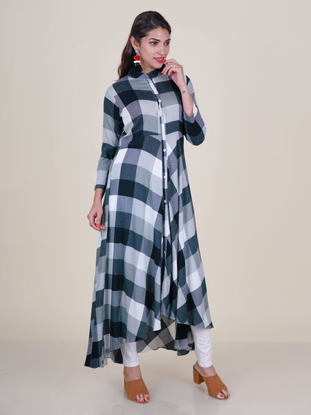 Mother-Pearl Buttoned & Tasselled Chequered Asymmetric Kurti – White, Grey & Navy Blue