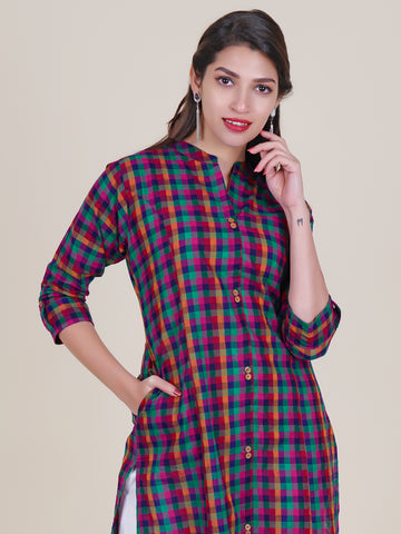 Multi Color Chequered Kurti with Engraved Wooden Buttons