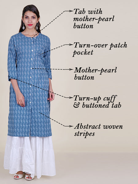 Folded Patch Pocketed Mother-Pearl Buttoned Printed Cotton Kurti