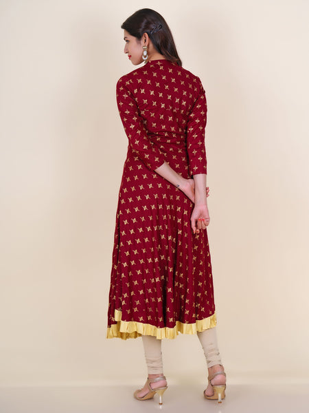 Kundan Work Wooden Buttoned Ethnic Printed Cotton Kurti