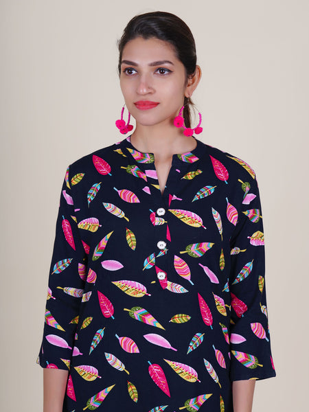 Golden Buttoned Multi Colored Leaf Printed Kurti – Navy Blue